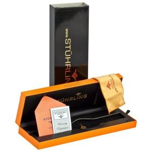 Stuhrling 437.33OB1 Black Ceramic & Leather 36mm x 42mm Watch