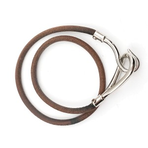 Hermes Hook Palladium Leather Bracelet /Choker