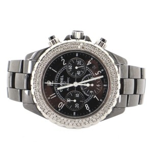 Chanel J12 Chronograph Automatic Watch Ceramic and Stainless Steel with Diamond Bezel 41