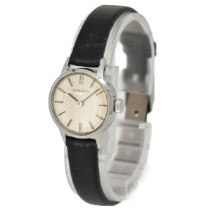 LONGINES Silver Dial SS/Leather Hand Winding Ladies Watch