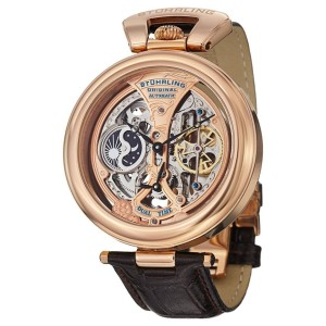 Stuhrling Emperor's Grandeur 127A.334553 Stainless Steel & Leather 49mm Watch