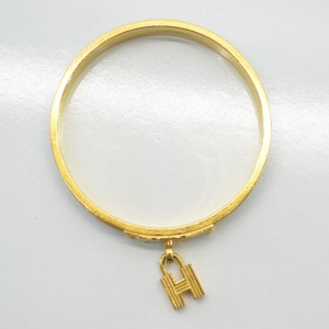 Hermes Gold Tone Metal Leather Kelly Classic Bangle