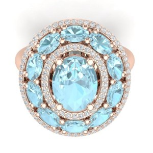 18K Rose Gold with 27.3ctw and 3.12ctw. Diamond Ring Size 7