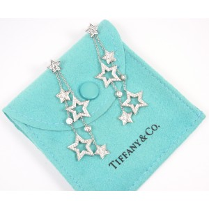 Tiffany & Co. 950 Platinum & Diamond Stars Multi Drop Dangle Earrings