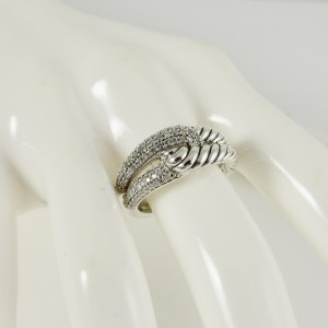 David Yurman Sterling Silver .44tcw Single Loop Pave Diamond Labyrinth Ring