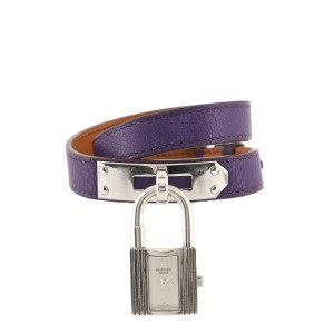 Hermes Kelly Double Tour Quartz Watch Plated Metal and Leather 20