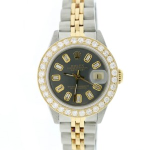 Rolex Datejust Ladies 2-Tone 18K Gold/SS 26mm Jubilee Watch w/Baguette Diamond Dial & 1.3Ct Bezel