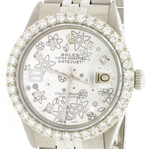 Rolex Datejust 36MM Automatic Stainless Steel Jubilee Watch w/Silver Floral Diamond Dial & 2.7Ct Bezel