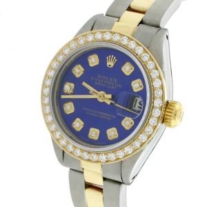 Rolex Datejust Ladies 2-Tone 18K Yellow Gold/Steel 26MM Oyster Watch w/Royal Blue Diamond Dial & Bezel