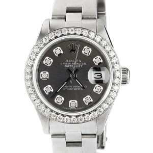 Rolex Datejust Ladies Automatic Stainless Steel 26mm Oyster Watch w/Charcoal Grey Diamond Dial & Bezel