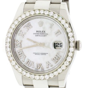 Rolex Datejust II 41MM Stainless Steel Automatic Oyster Mens Watch w/MOP Roman Diamond Dial & Diamond Bezel 116300