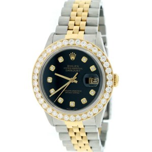 Rolex Datejust 2-Tone 18K Gold/SS 36mm Automatic Jubilee Watch w/Midnight Black Diamond Dial & 2.7Ct Bezel