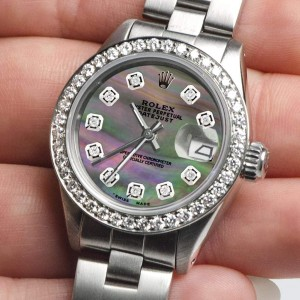 Rolex Datejust Ladies Automatic Stainless Steel 26mm Oyster Watch w/Tahitian MOP Dial & Diamond Bezel