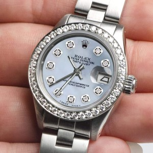 Rolex Datejust Ladies Automatic Stainless Steel 26mm Oyster Watch w/Blue Carolina MOP Dial & Diamond Bezel