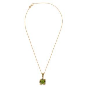 Peridot And Diamond Pendant Necklace
