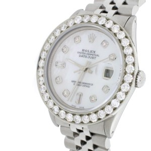 Rolex Datejust 36mm SS Automatic Jubilee Watch w/MOP Diamond Dial & 3.65Ct Bezel