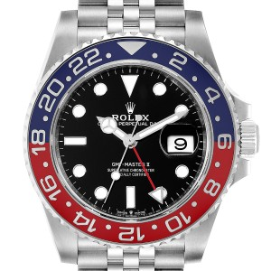 Rolex GMT Master II Pepsi Bezel Jubilee Steel Watch 126710 Box Card