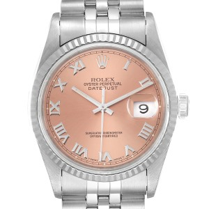 Rolex Datejust 36 Steel White Gold Salmon Dial Mens Watch 16234
