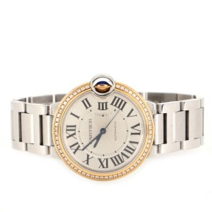 Cartier Ballon Bleu de Cartier Automatic Watch Stainless Steel and Yellow Gold with Diamond Bezel 36