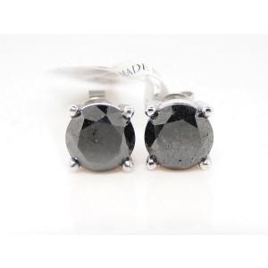 10K White Gold  Black Diamond Solitaire Stud Earrings
