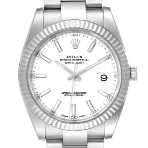 Rolex Datejust 41 Steel White Gold Fluted Bezel Mens Watch 126334 Box Card