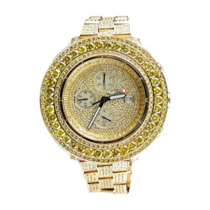 Breitling Joe Rodeo Super Avenger Canary Iced Out 38 Ct Diamond  Mens Watch