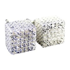 Ice Cube 3D White Diamond Stud Earrings