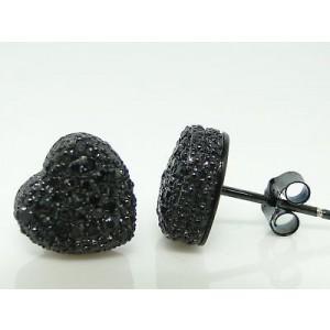 Heart Black On Black 0.30 Diamond Stud Womens Earrings