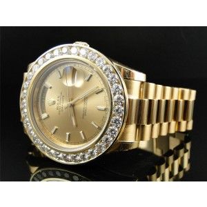 Rolex President 2 II Solid 18 kt 43MM Diamond Gold Dial 8 Ct Mens Watch