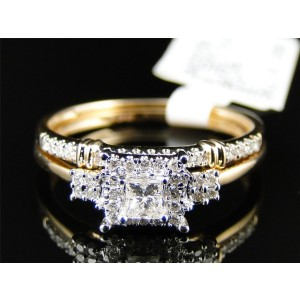 Yellow Gold Princess Solitaire Diamond Ladies Ring