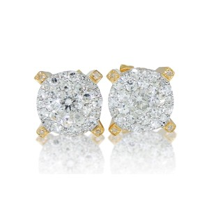 10K Yellow Gold Solitaire Look 1.75 ct Diamond 9 mm Studs Men Ladies Earrings