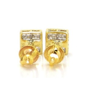 14K Yellow Gold Bezel Princess Cut Diamond Stud Earrings