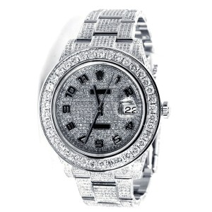 Rolex Custom Made Mens New Date Just II 2 Flooded With Genuine Diamonds 45mm Watch