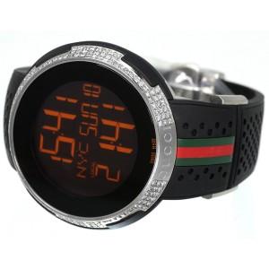 Gucci YA114103 Digital XXL Rubber 3 Ct Diamond Mens Watch 49mm