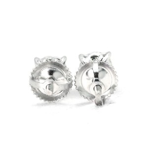 14K White Gold Round Cut Solitaire Diamond Stud Earrings