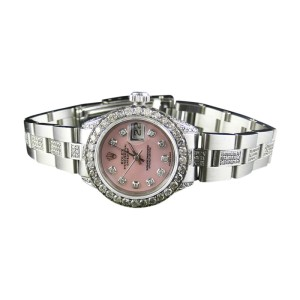 Rolex Datejust Oyster Stainless Steel 8 Ct Diamond Pink MOP Dial Watch