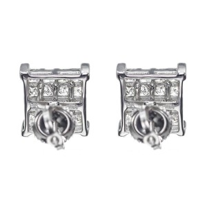 14K White Gold Princess Invisible 2.0ct Diamond 9mm Stud Earrings