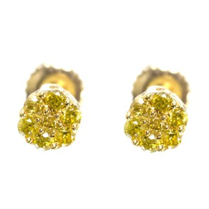 10k Yellow Gold Round Canary Diamond Flower Cluster Studs Earrings