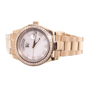 Techno Com KC Day Date Diamond 1.9ct Rose Stainless Steel Watch 41mm