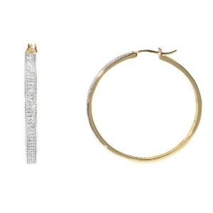10K Yellow Gold 2 Row Pave Round 3/4ct Diamond Huggie Hoops Earrings