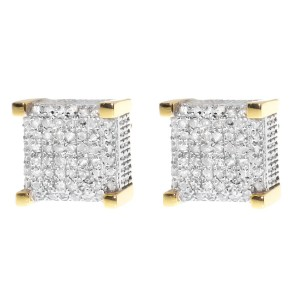 Yellow Gold Finish Sterling Silver  Round Diamond 3D Cube Studs Earrings