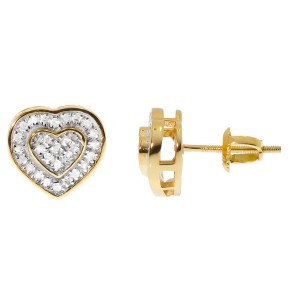 Yellow Gold Plated Sterling Silver Pave Diamond Dual Heart Studs Earrings