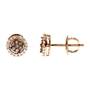 10k Rose Gold Brown White Diamond 7mm Flower Cluster Studs Earrings