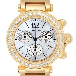 Cartier Pasha Seatimer Chronograph Yellow Gold Diamond Watch WJ130007