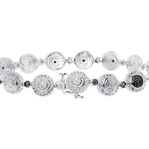 White Gold Finish Sterling Silver Black 0.50 ct Diamond Round Link Tennis Bracelet