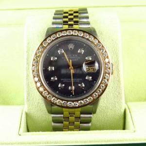 Rolex Datejust 2 Tone 18k/Stainless Steel White Diamond 36 mm Mens Watch