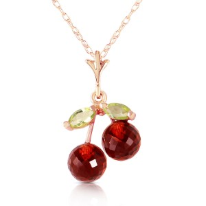 14K Solid Rose Gold Necklace with Garnets & Peridots