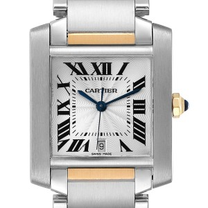 Cartier Tank Francaise Steel Yellow Gold Large Unisex Watch W51005Q4 Box