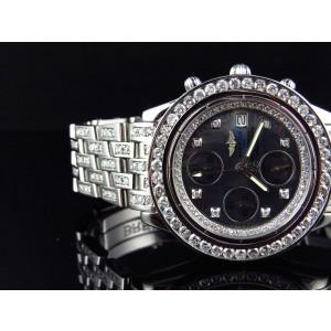 Breitling Chronomat Aeromarine Genuine Diamond 9.5 Ct 41mm Mens Watch
