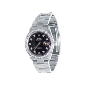 Rolex 36 mm Datejust Oyster Stainless Steel Black 2.15ct. Diamond Mens Watch